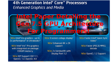 Intel Paper Detailing the Gen 7.5 GPU Architecture – Attention OpenCL Programmers !